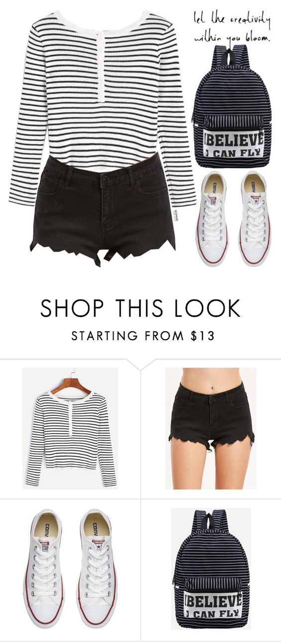 """Romwe #9 V"" by oliverab ❤ liked on Polyvore featuring Converse, stripes and romwe"