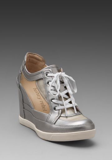 LUXURY REBEL Carlton Mesh Wedge Sneaker in Cement -
