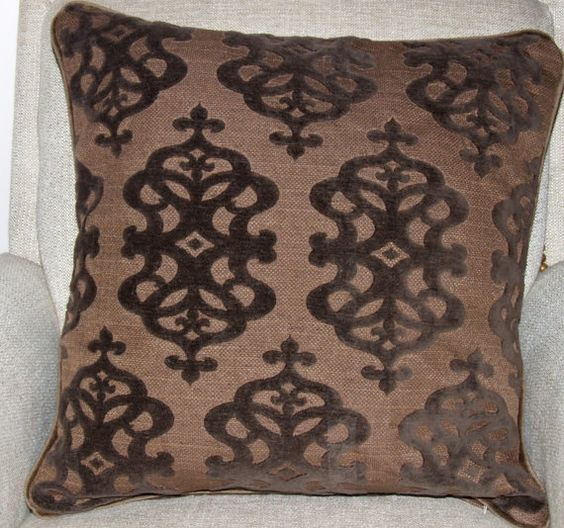 Brown  pillow raised velvet designs brown with self by kdHOMEofCT, $45.00