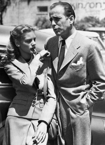 Lauren Bacall and actor Humphrey Bogart after returning from Ohio where they were recently married, 1945