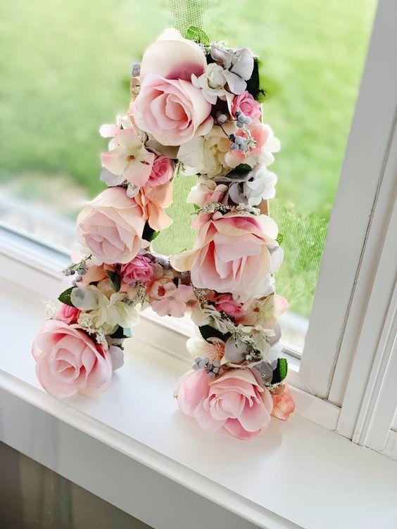 Floral Letter Floral Initial Baby girl gift Flower Letter | Etsy