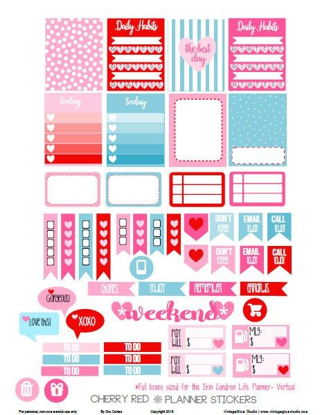 Cherry Red Planner Stickers – Free Printable