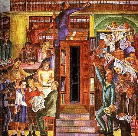 Coit tower mural with books san francisco luv for Coit tower mural