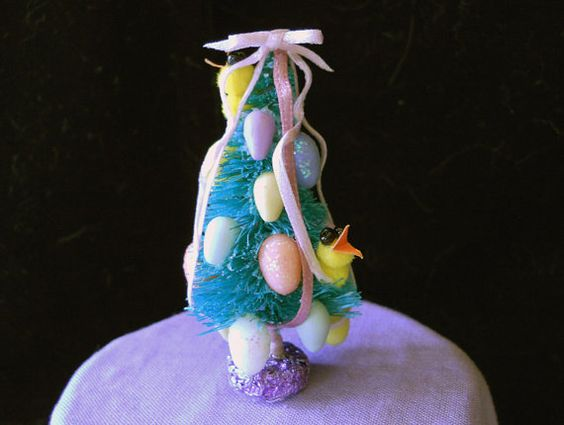 1/12 Scale Easter Tree Decorated with Eggs 2 Fluffy by BeadSmyths, $16.00