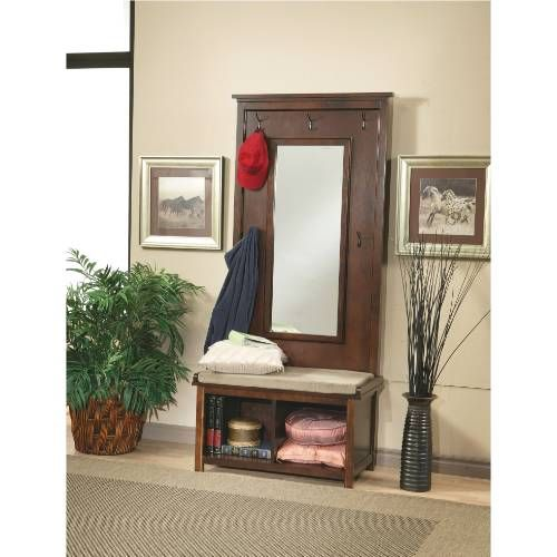 Coaster Furniture 900803 Hall Tree with Storage and Mirror