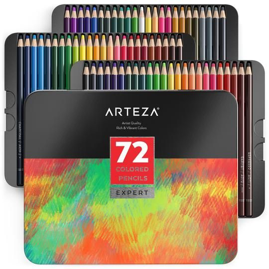 Colored Pencils Triangle Shaped Set Of 48 Watercolor Pencils