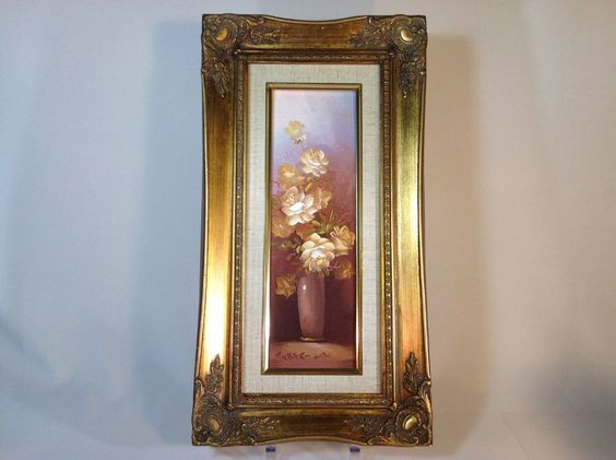 Vintage Floral Oil Painting Flower in a Vase by Robert Cox ...