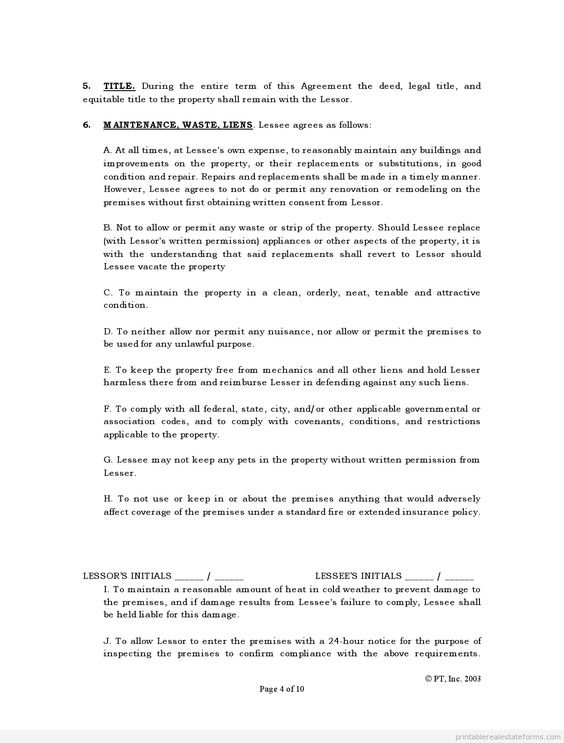Printable Sample standard lease agreement Form Legal Forms - sample standard lease agreement