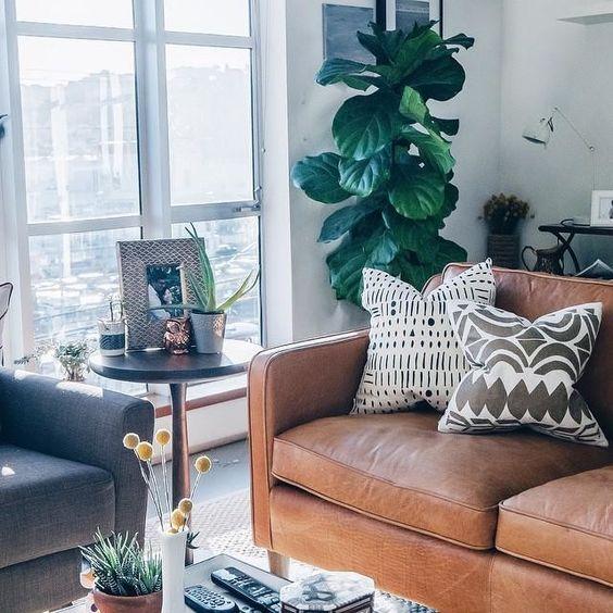 Sofa da tô điểm mùa thu cho phòng khách