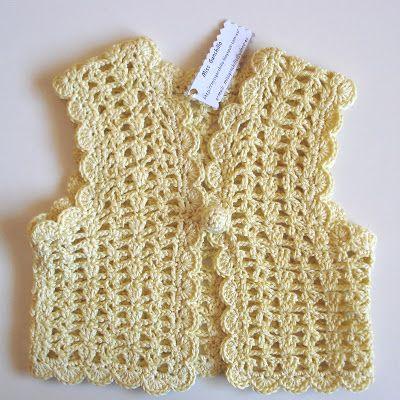 Chaleco para niña con diadema Chaleco para niña, realizado a ganchillo con hilo de algodón