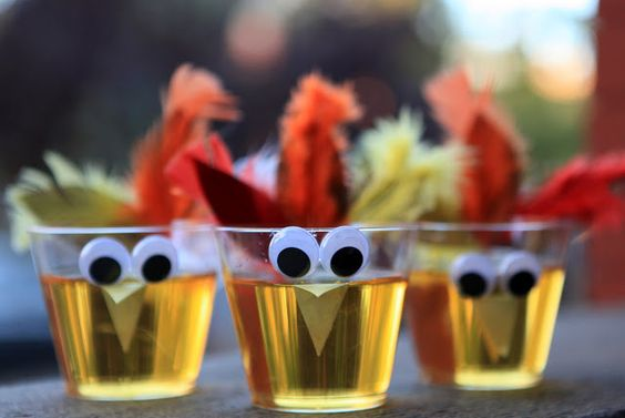 Turkey cups...super easy to make.  Might need straws to actually drink though.