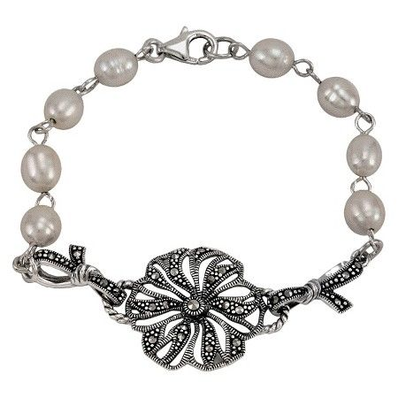 Pear and Marcasite Flower Bracelet - Silver