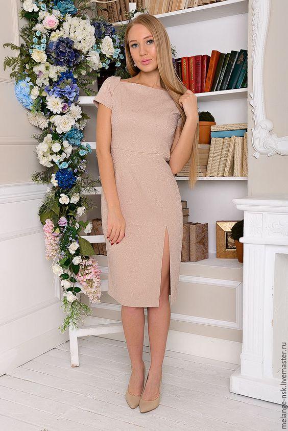 Купить Бежевое платье-футляр с разрезом - однотонный, платье, платье летнее, Платье нарядное