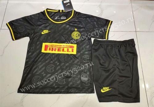 2019 2020 Inter Milan 2nd Away Black Kids Youth Soccer Uniform