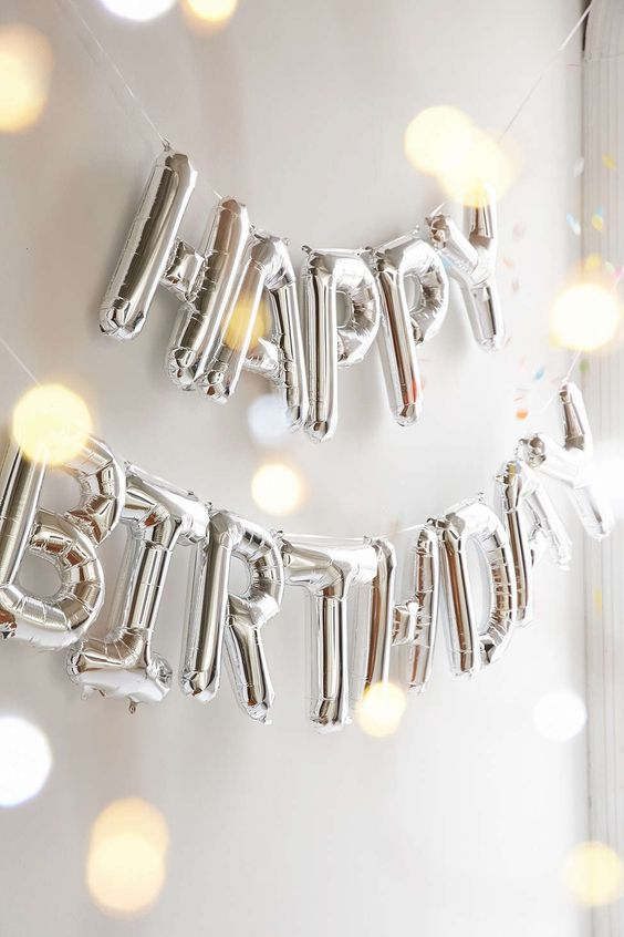 Happy Birthday Metallic Silver or Gold Balloon Kit: