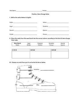 All Worksheets stem worksheets : Stem Changing Verbs Worksheet