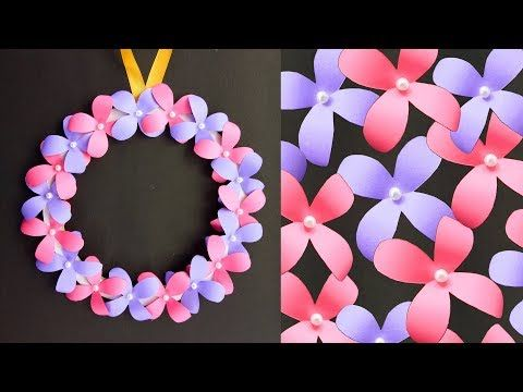 Diy Wall Hanging Paper Flower Craft Easy Wall Decoration Ideas Simple Paper Craft Youtube Paper Flower Crafts Easy Paper Crafts Paper Crafts Diy