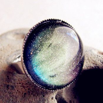 Trendy Blue Fantasy Rings for Date,Outdoor,Traveling, - Stunning Northern Lights Ring