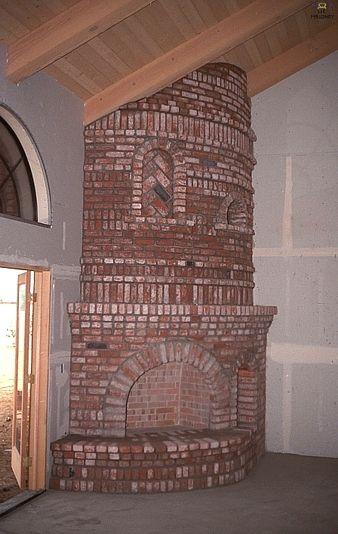 Large Brick Curved Corner Fireplace Living Room Home