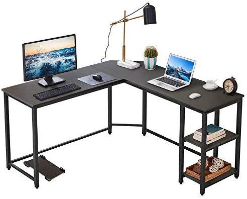 Amazon Com Vanspace L Shaped Desk Corner Computer Desk With Storage Bookshelf And Cpu Stand Home Office Desk G L Shaped Desk Office Desk Corner Computer Desk