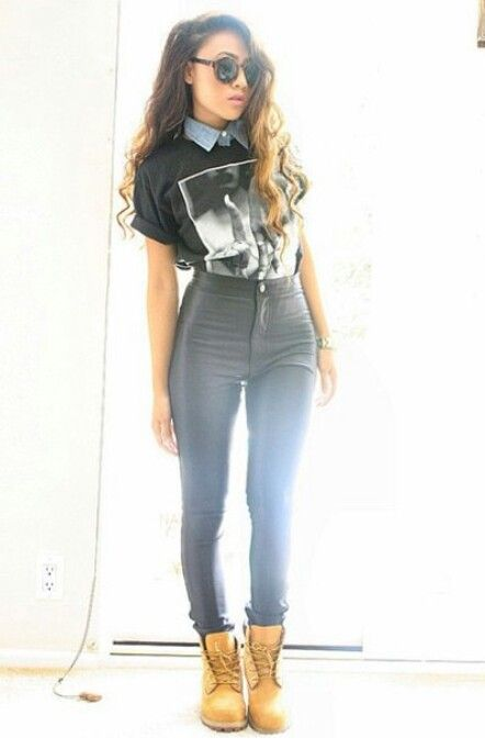 Timbs | timberland | high waisted pants | Looks &amp Outfits