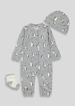 """Outfit. Sleepsuit with Hat Set Baby Boy /""""Stars/"""" All In One Babygrow"""