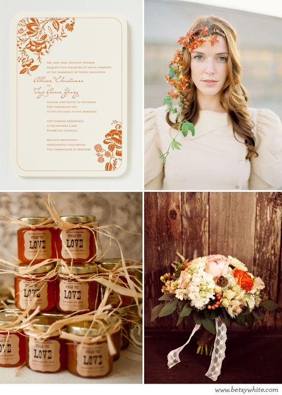 "Loving this ""Rustic Autumn Orange"" inspiration | featuring our 'Liv' wedding invitation"