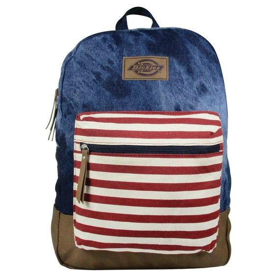 Dickies Printed Hudson Canvas Backpack Handbag with Front Zip Pocket and Faux Leather Bottom and Trims - Blue, Dark Blue