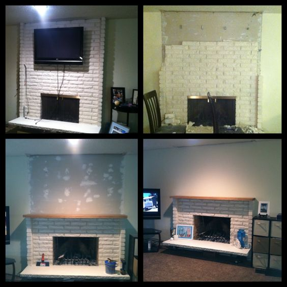 Fireplace Update.  Remaining Items: move TV above fireplace. Anchor mantle. Install new hearth. Need a Media built-in on the left and a symmetrical built-in/cabinet on the right.