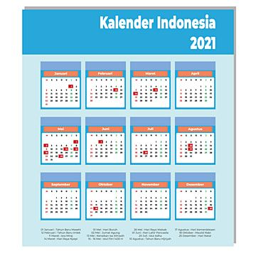 Indonesia Calendar 2021 Kalender Desain Kalender Indonesia