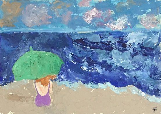 iesArt Sabbia, gesso, acrilico su tela 50x70 Sogno d'orizzonte