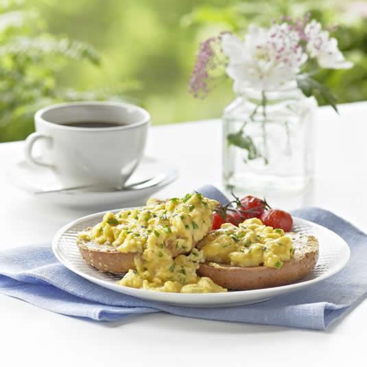 Herby Scrambled Eggs with Unsweetened Almond Breeze almond milk ...
