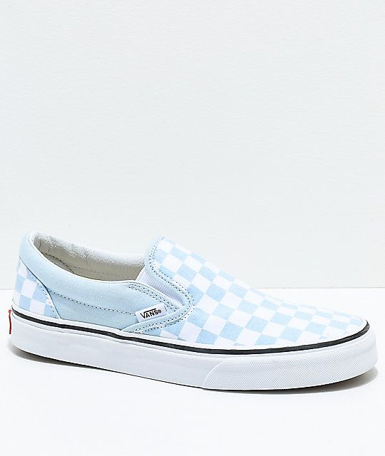 07aec8d062a Vans Slip-On Baby Blue   White Checkered Skate Shoes in 2019