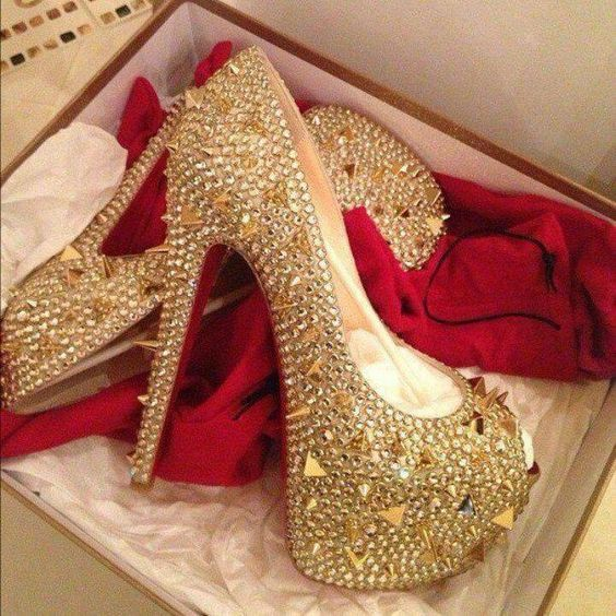 Christian Louboutin Gold Stud Crystal Peep Toe Heels | Shoes ...