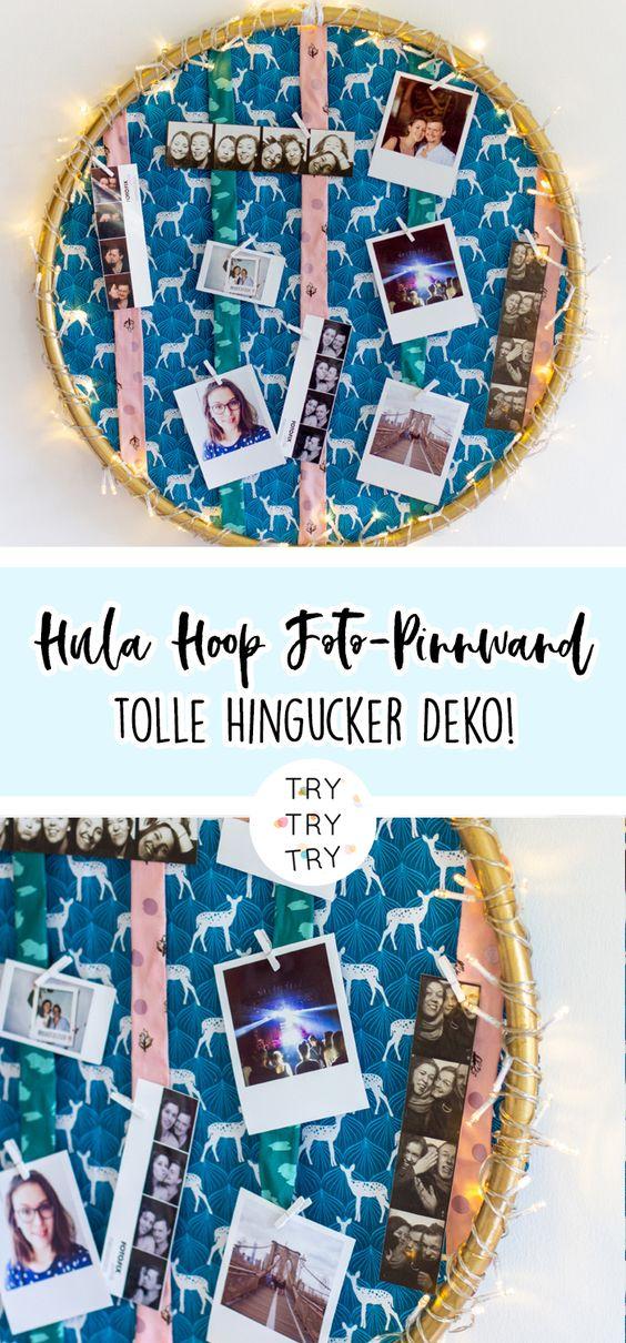 DIY Hula Hoop Foto-Pinnwand mit Stoffen von Klaranähta