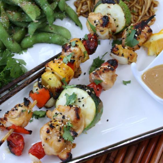 Toasted Sesame and Ginger Chicken Kabobs.  A simple and very healthy way to wake up this low fat dish.
