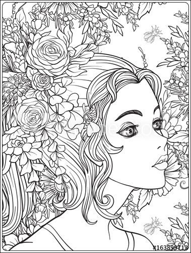 A Young Beautiful Girl With A Wreath Of Flowers On Her Head Coloring Page Adobe Stock Mandala Coloring Pages Coloring Pages Fairy Coloring Pages