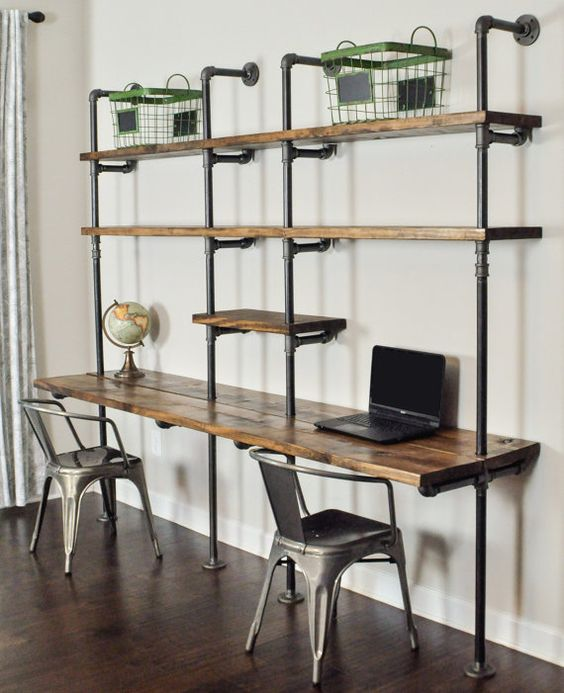 A desk and shelf wall unit with the design you want and the function you need. The industrial strength pipe fittings support 8 long stained 2 x 12