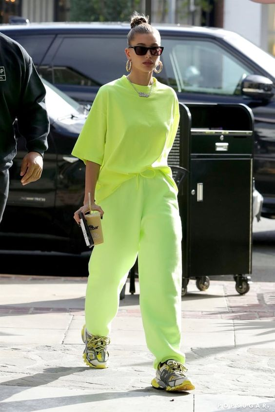 Hailey Baldwin's Neon Green Outfit November 2018 | POPSUGAR Fashion