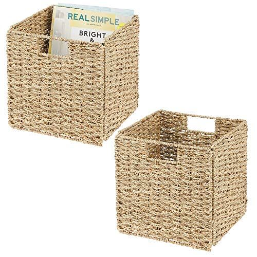 Mdesign Boite De Rangement En Lot De 2 Panier Tresse En Algues Naturelles Accessoire De Rangement Ide Cube Storage Storage Closet Organization Cube Furniture
