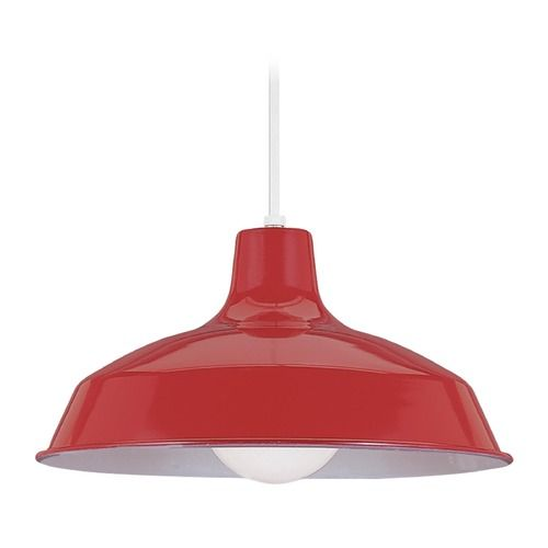 Farmhouse Led Barn Light Red Painted Shade Pendants By Sea Gull Lighting At Destination Lighting Red Kitchen Pendant Lights