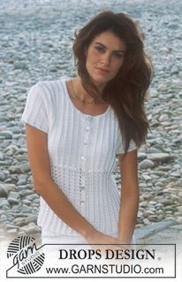DROPS 77-26 - DROPS Cardigan with long or short sleeves in Safran - Free pattern by DROPS Design