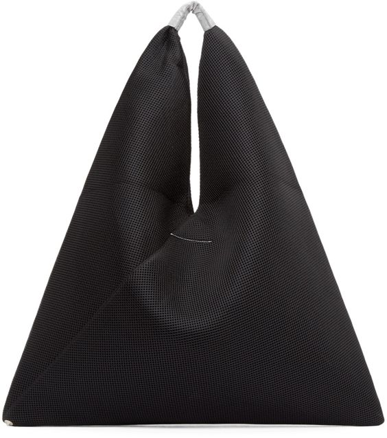 MM6 Maison Margiela Black Mesh & Neoprene Triangle Tote