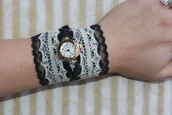 Black & Ivory Lace Watch by heartalwaysjewelry on Etsy, $26.99