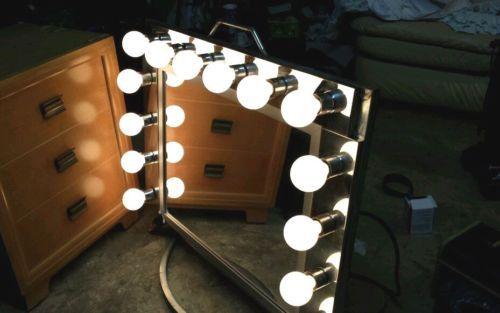 vintage hollywood theater lighted dressing room makeup vanity mirror custom m. Black Bedroom Furniture Sets. Home Design Ideas