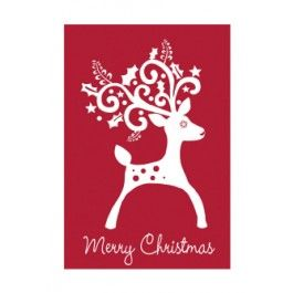 "Flags A' Flying ""Christmas Reindeer"" Applique Seasonal Banner; Polyester 30""x44"" - Christmas"