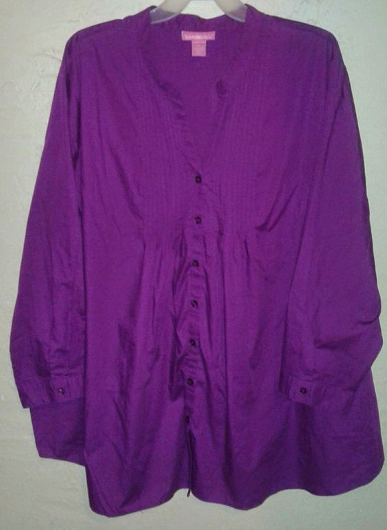 Woman Within Plus Size Button Down Big Shirt Pintuck Purple 5x6x7x 34/36/38/40 #WomanWithin #ButtonDownShirt #Pintuck