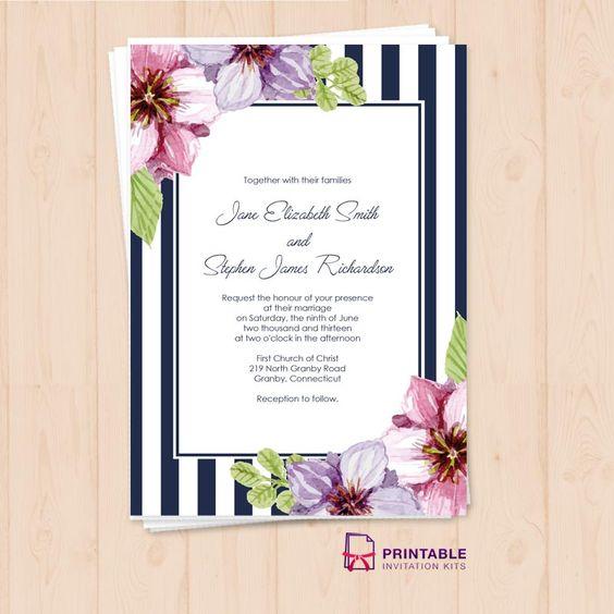 Free PDF Download. Retro Stripes Floral Wedding Invitation Template