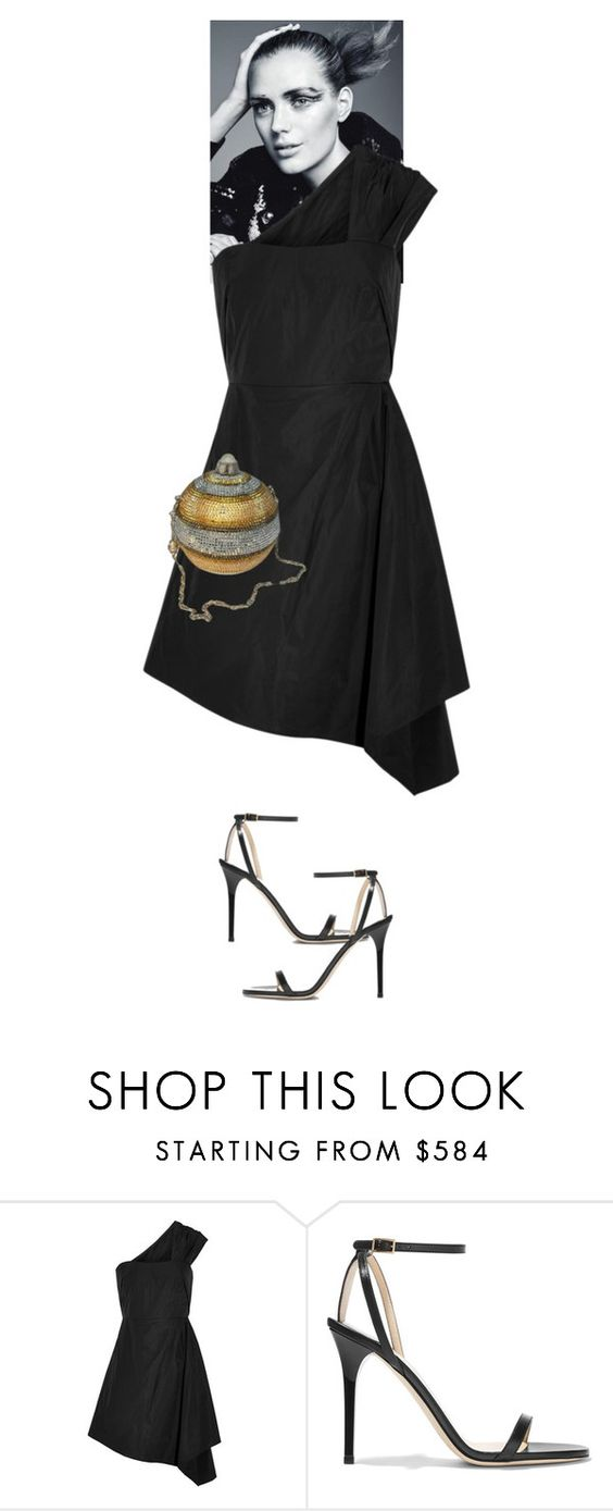 """Harbor Alouette #7152"" by canlui ❤ liked on Polyvore featuring Carven, Jimmy Choo, Judith Leiber, black, dress, lace, dresses and LBD"