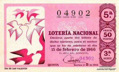 Décimo Del Sorteo Extraordinario De Lotería De San Valentin Celebrado El 15 De Febrero De 1966 Coleccionismo Lotería Nacional Lotería Día De San Valentin